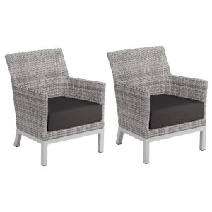 Argento Club Chair - Argento Resin Wicker - Powder Coated Aluminum Legs - Jet Black Polyester Cushion - Set of 2