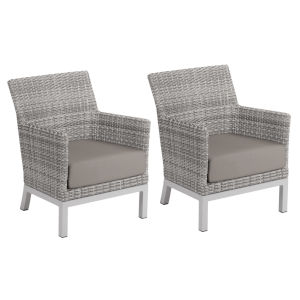 Argento Club Chair - Argento Resin Wicker - Powder Coated Aluminum Legs - Stone Polyester Cushion - Set of 2