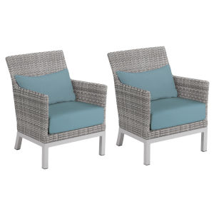 Argento Club Chair with Lumbar Pillow - Argento Resin Wicker - Powder Coated Aluminum Legs - Ice Blue Polyester Cushion and
