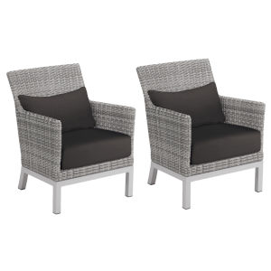 Argento Club Chair with Lumbar Pillow - Argento Resin Wicker - Powder Coated Aluminum Legs - Jet Black Polyester Cushion and