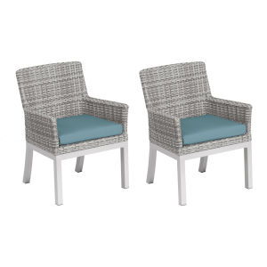 Travira Woven Armchair - Set of 2 - Argento Resin Wicker - Powder Coated Aluminum Legs - Ice Blue Polyester Cushion