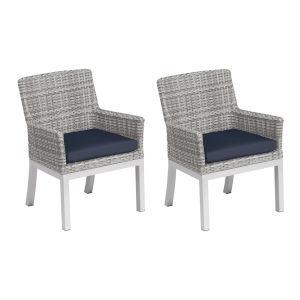 Travira Woven Armchair - Set of 2 - Argento Resin Wicker - Powder Coated Aluminum Legs - Midnight Blue Polyester Cushion