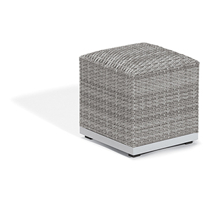 Argento Silver Resin Wicker Ottoman Pouf