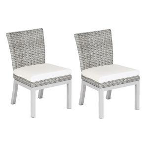 Travira Woven Side Chair - Set of 2 - Argento Resin Wicker - Powder Coated Aluminum Legs - Eggshell White Polyester Cushion
