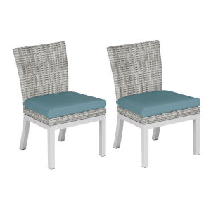 Travira Woven Side Chair - Set of 2 - Argento Resin Wicker - Powder Coated Aluminum Legs - Ice Blue Polyester Cushion