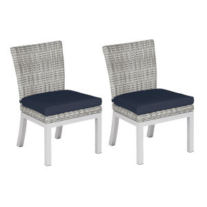 Travira Woven Side Chair - Set of 2 - Argento Resin Wicker - Powder Coated Aluminum Legs - Midnight Blue Polyester Cushion