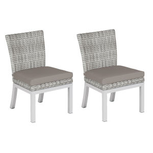 Travira Woven Side Chair - Set of 2 - Argento Resin Wicker - Powder Coated Aluminum Legs - Stone Polyester Cushion
