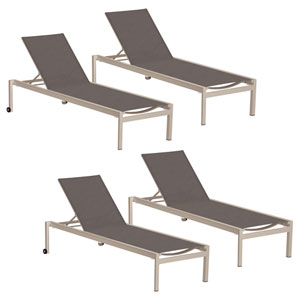 Ven Cocoa Chaise Lounge, Set of Four