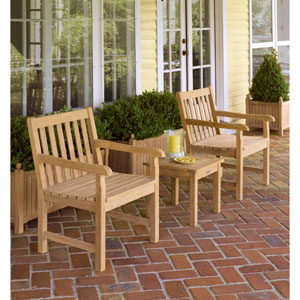Classic Natural Shorea 3-Piece Chat Set with End Table