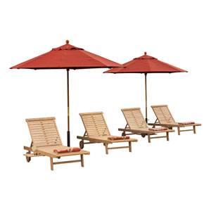 Oxford Natural Shorea Chaise 8-Piece Chaise Chat Set