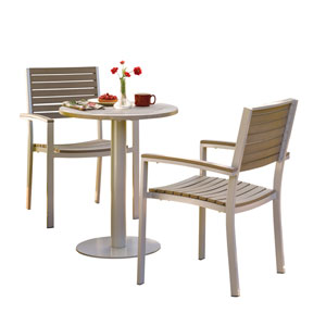 Travira Vintage Teakwood 5-Piece Bistro Set with 24-Inch Table