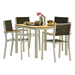 Travira Teak 5-Piece Dining Set with Black Sling Seats