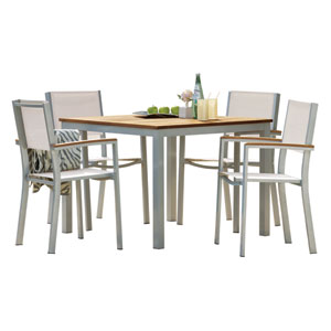 Travira Teak 5-Piece Dining Set with Natural Sling Seats