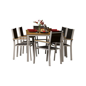 Travira Teak 7-Piece Dining Set with Black Sling Seats