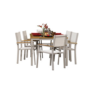 Travira Teak 7-Piece Dining Set with Natural Sling Seats