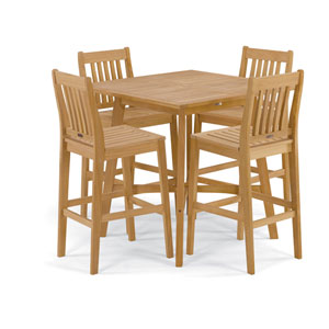 Wexford Natural Shorea 5-Piece Chair and Table Bar Set