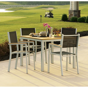 Travira Natural Tekwood 5 Piece Dining Set with Black Sling Seats