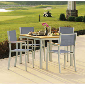 Travira Natural Tekwood 5 Piece Dining Set with Titanium Sling Seats