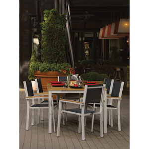 Travira Natural Tekwood 7 Piece Dining Set with Black Sling Seats