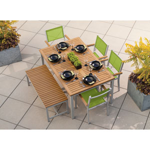 Travira Natural Tekwood 6 Piece Dining Set with Go Green Sling Seats