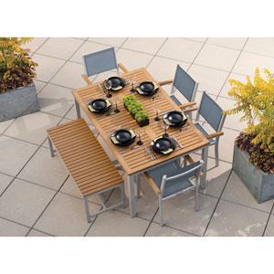 Travira Natural Tekwood 6 Piece Dining Set with Titanium Sling Seats