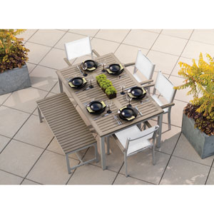 Travira Vintage Tekwood 6 Piece Dining Set with Natural Sling Seats