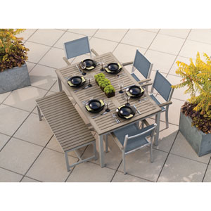 Travira Vintage Tekwood 6 Piece Dining Set with Titanium Sling Seats