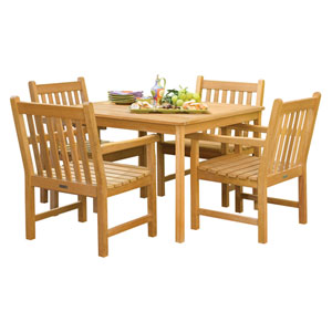 Classic - 5-Piece 42-inch Table Dining Set - Natural Shorea - Hunter