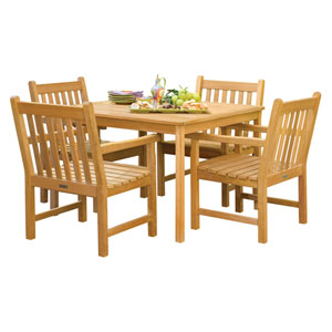 Classic - 5-Piece 42-inch Table Dining Set - Natural Shorea - Dupione Papaya