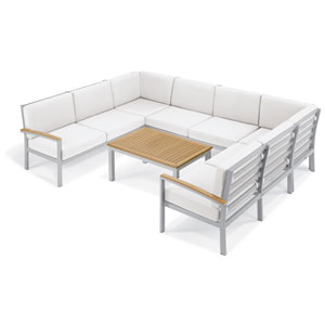 Travira - 7-Piece Loveseat and Table Chat Set - Eggshell White Cushion - Natural Tekwood