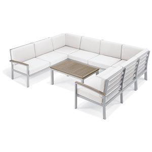 Travira - 7-Piece Loveseat and Table Chat Set - Eggshell White Cushion - Vintage Tekwood