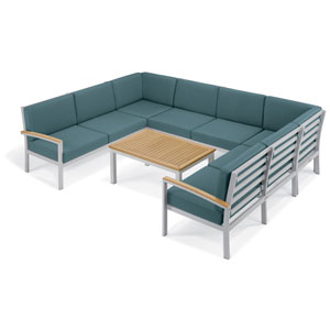 Travira - 7-Piece Loveseat and Table Chat Set - Ice Blue Cushion - Natural Tekwood