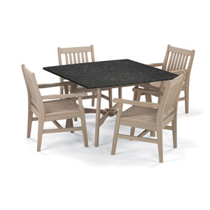 Wexford - 5-Piece Dining Set with 48-inch Table - Grigio Shorea - Lite-Core Charcoal