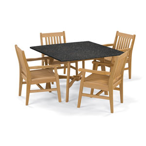 Wexford - 5-Piece Dining Set with 48-inch Table - Natural Shorea - Lite-Core Charcoal