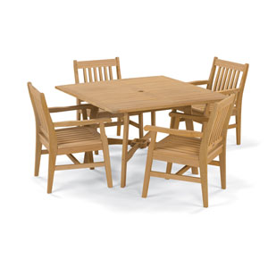 Wexford - 5-Piece Dining Set with 48-inch Table - Natural Shorea