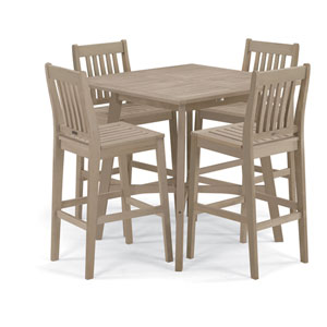 Wexford - 5-Piece Dining Set with 42 In. Bar Table - Grigio Shorea