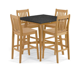 Wexford - 5-Piece Dining Set with 42 In. Bar Table - Natural Shorea - Lite-Core Charcoal