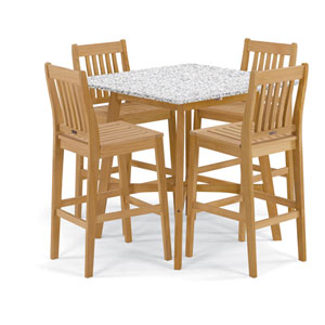 Wexford - 5-Piece Dining Set with 42 In. Bar Table - Natural Shorea - Lite-Core Ash