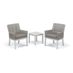 Travira - 3-Piece Conversation Set with End Table - Powder Coated Aluminum - Lite-Core Ash - Argento Wicker - Stone Cushion