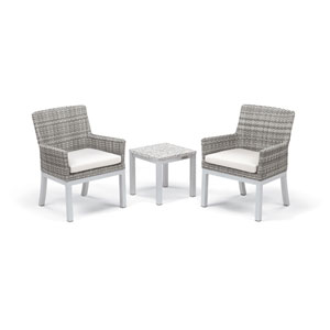 Travira - 3-Piece Conversation Set with End Table - Powder Coated Aluminum - Lite-Core Ash - Argento Wicker - Eggshell White