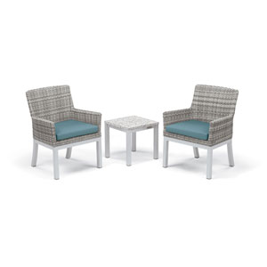 Travira - 3-Piece Conversation Set with End Table - Powder Coated Aluminum - Lite-Core Ash - Argento Wicker - Ice Blue
