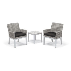 Travira - 3-Piece Conversation Set with End Table - Powder Coated Aluminum - Lite-Core Ash - Argento Wicker - Jet Black