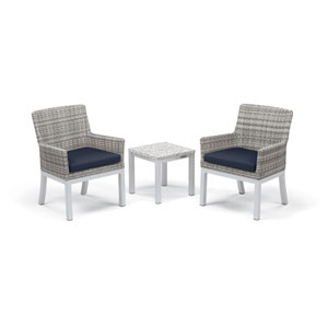 Travira - 3-Piece Conversation Set with End Table - Powder Coated Aluminum - Lite-Core Ash - Argento Wicker - Midnight Blue