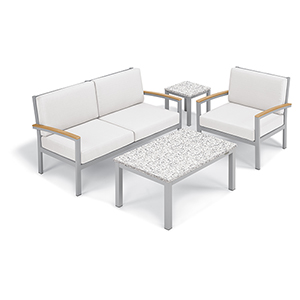 Travira Eggshell White 4-Piece Seat and Table Chat Set