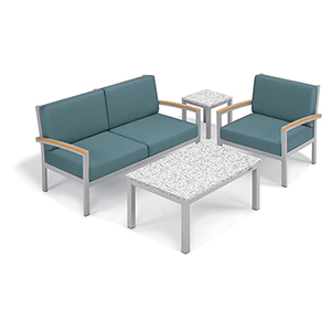 Travira Ice Blue 4-Piece Seat and Table Chat Set