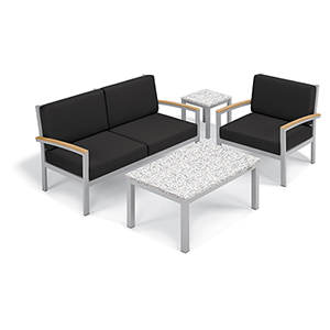Travira Jet Black 4-Piece Seat and Table Chat Set