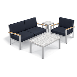 Travira Midnight Blue 4-Piece Seat and Table Chat Set