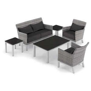 Argento 6 -Piece Lounge with Lumbar Pillows and Travira Table Set - Powder Coated Aluminum Frame - Resin Wicker Argento Chair