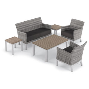 Argento 6 -Piece Lounge and Travira Table Set - Powder Coated Aluminum Frame - Resin Wicker Argento Chair - Tekwood Vintage