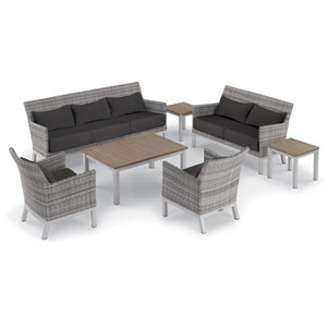 Argento 7 -Piece Lounge with Lumbar Pillows and Travira Table Set - Powder Coated Aluminum Frame - Resin Wicker Argento Chair